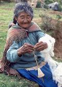 Anciana Aymara hilando