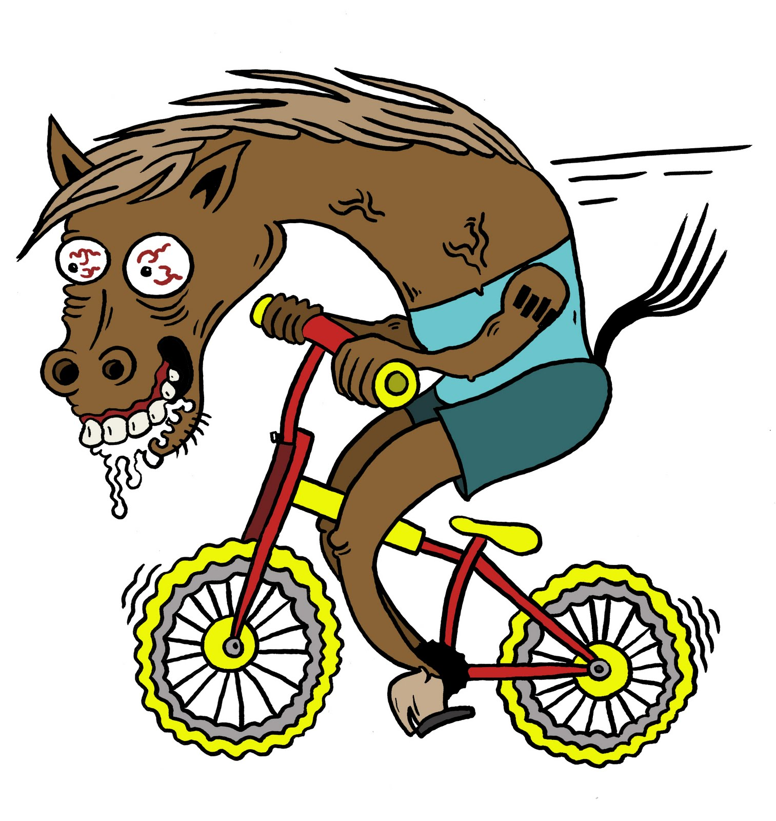 horse with hands riding a bike