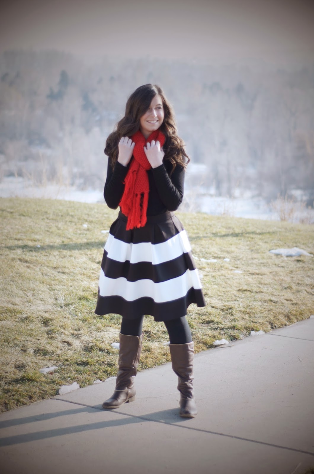 windsor store, make me chic, pop of red, downeast basics, flare skirt, black and white, black and red,