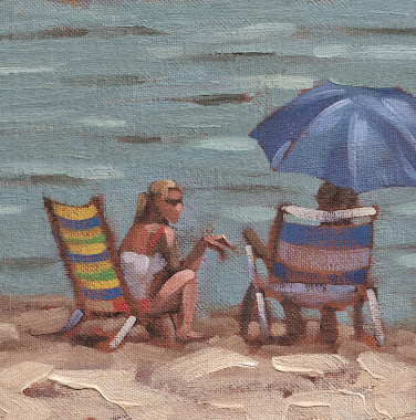 """Beach Talk"" 6x6 oil on board-SOLD"