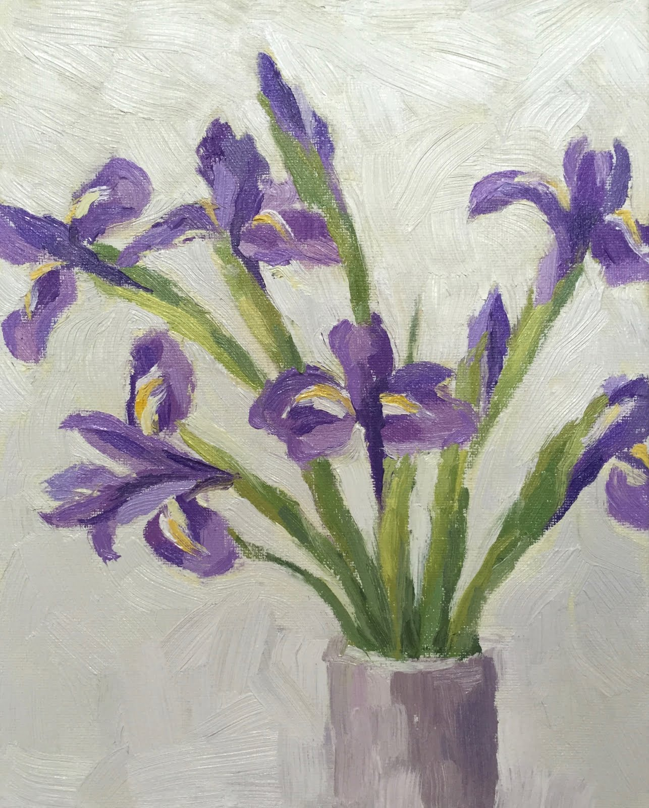 Clare bowen artist daily painting 20 iris flowers 10x8 these flowers took me ages so much so matte my dog asked for food and attention while i was taking the photo of the finished painting see pic below izmirmasajfo
