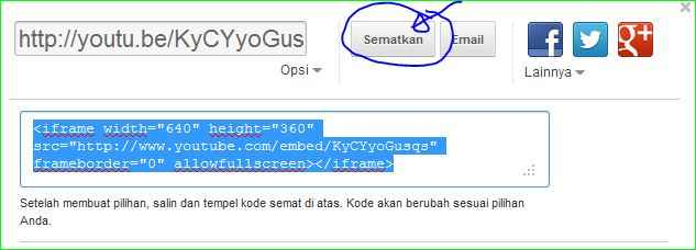 embed kode video youtube ke postingan blog