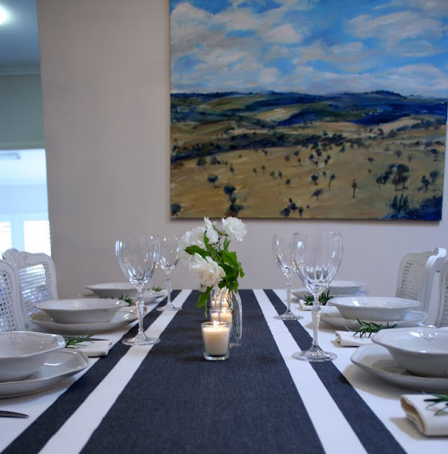 blue grey white stripe table cloth for sale sydney french