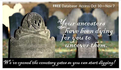 NEHGS's Cemetery Collection on AmericanAncestors.org is FREE to search from October 30 through November 7