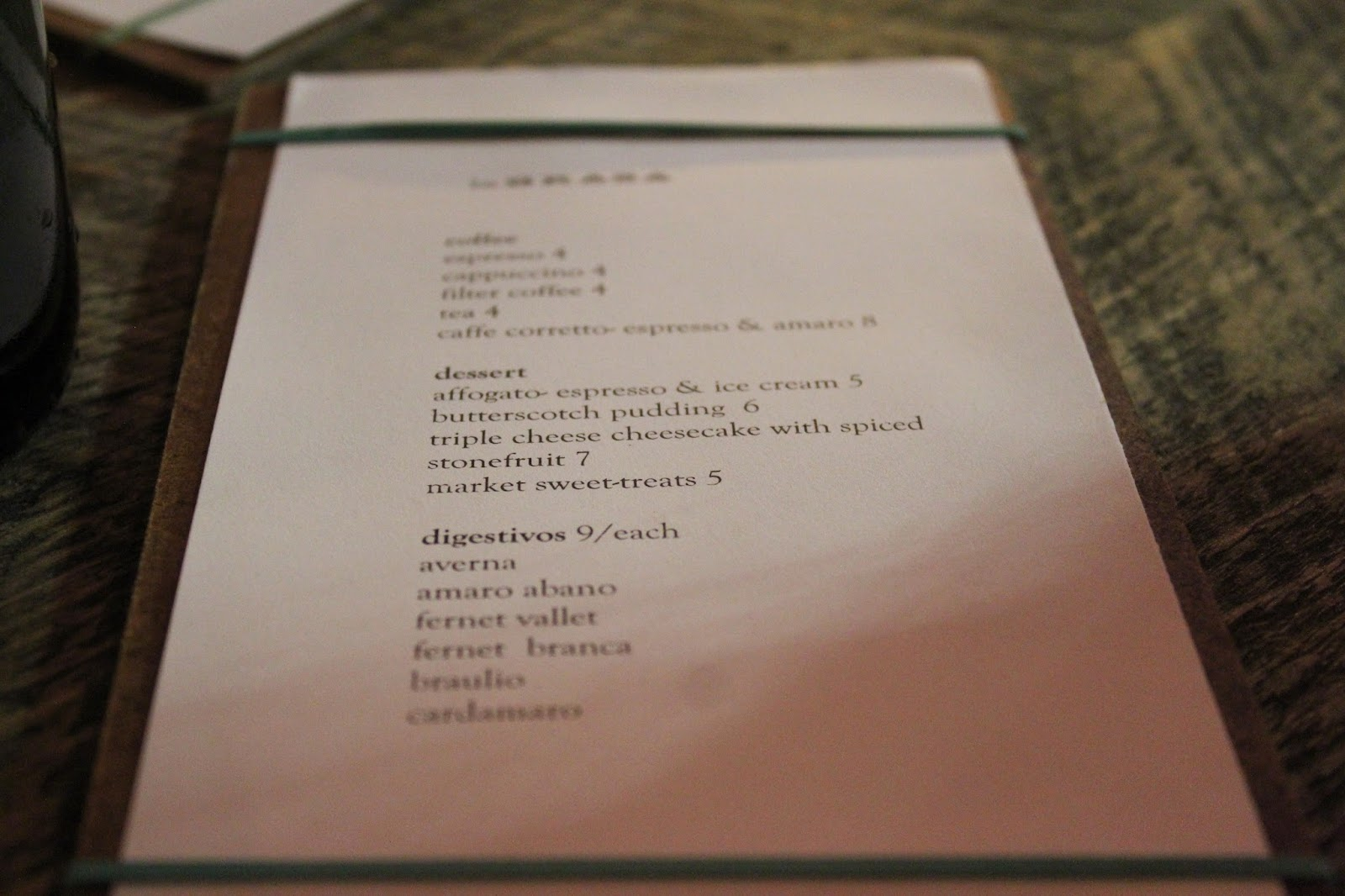 Dessert menu at La Brasa, Somerville, Mass.