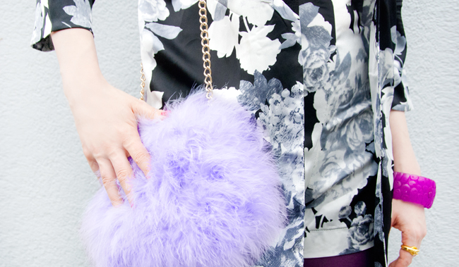 river island, fluffy lilac bag, marabou feather clutch