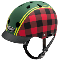 Nutcase helmet company's 'Lumberjack Matte' bicycle helmet, red and black plaid on the helmet's sides with a wide green stripe bordered by yellow and green narrow stripes along the center of the helmet dividing it front to back
