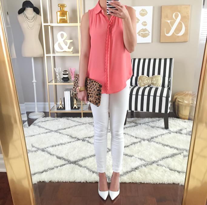 Loft scallop edge shell Paige Denim verdugo white jeans Manolo Blahnik bb white pumps home decor gold mirror dress form