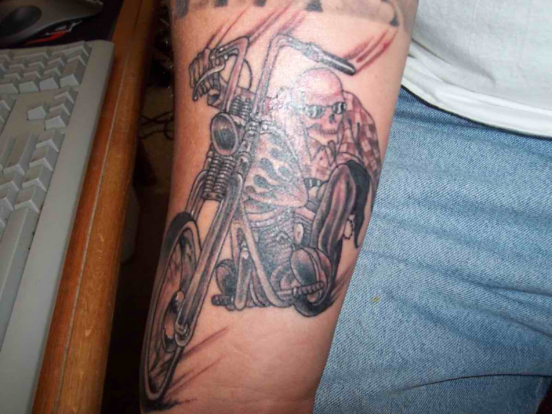 motorcycle tattoo gallery 2 the i want a skeleton riding a motorcycle title=