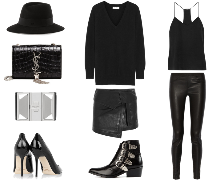 le-city-gypsy-fashion-blog-minimal-black-rocker-edgy-chic-saint-laurent-bag-leather-bracelet-helmut-lang-leather-leggings-tibi-silk-cami-isabel-marant-wrap-skirt-jimmy-choo-patent-abel-pointy-pumps-vneck-sweater-toga-boots