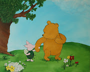 Pooh and Piglet are in the center, and on a larger canvas.