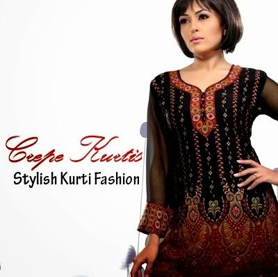 Stylish Crape Kurtis for Girls