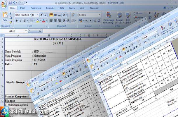 Aplikasi KKM (Kriteria Ketuntasan Minimal) untuk SD dengan Microsoft Excel