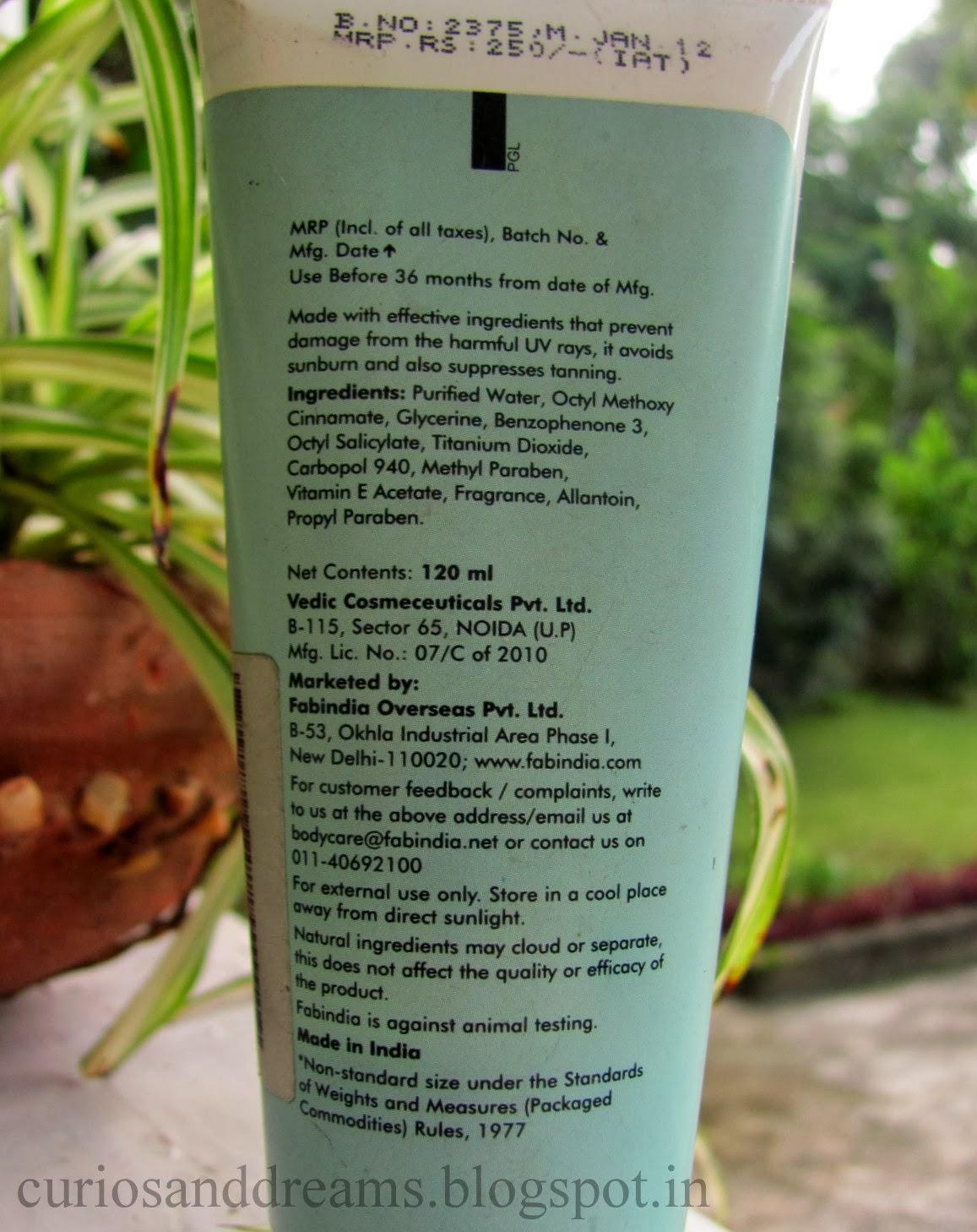 Fabindia Vitamin E Sunscreen SPF 30 review