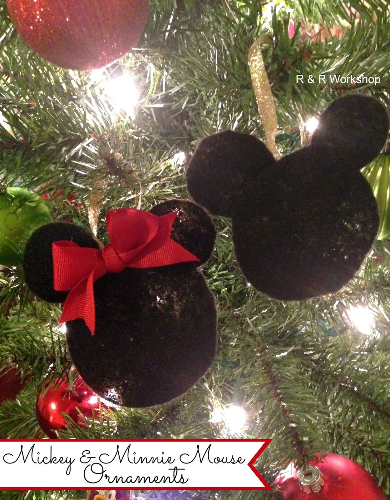 i have two kids ages 5 2 and i wanted to make some ornaments for them one thing we love at our house is mickey and minnie - Mickey Mouse Ornaments Christmas