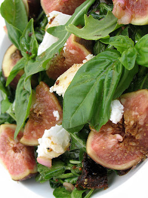 Fig Salad with Fresh Basil, Arugula, Goat Cheese and a Pomegranate Vinaigrette