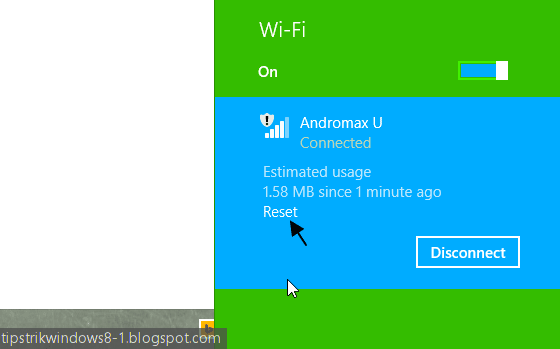 metered connection di windows 8.1 - estimated data usage