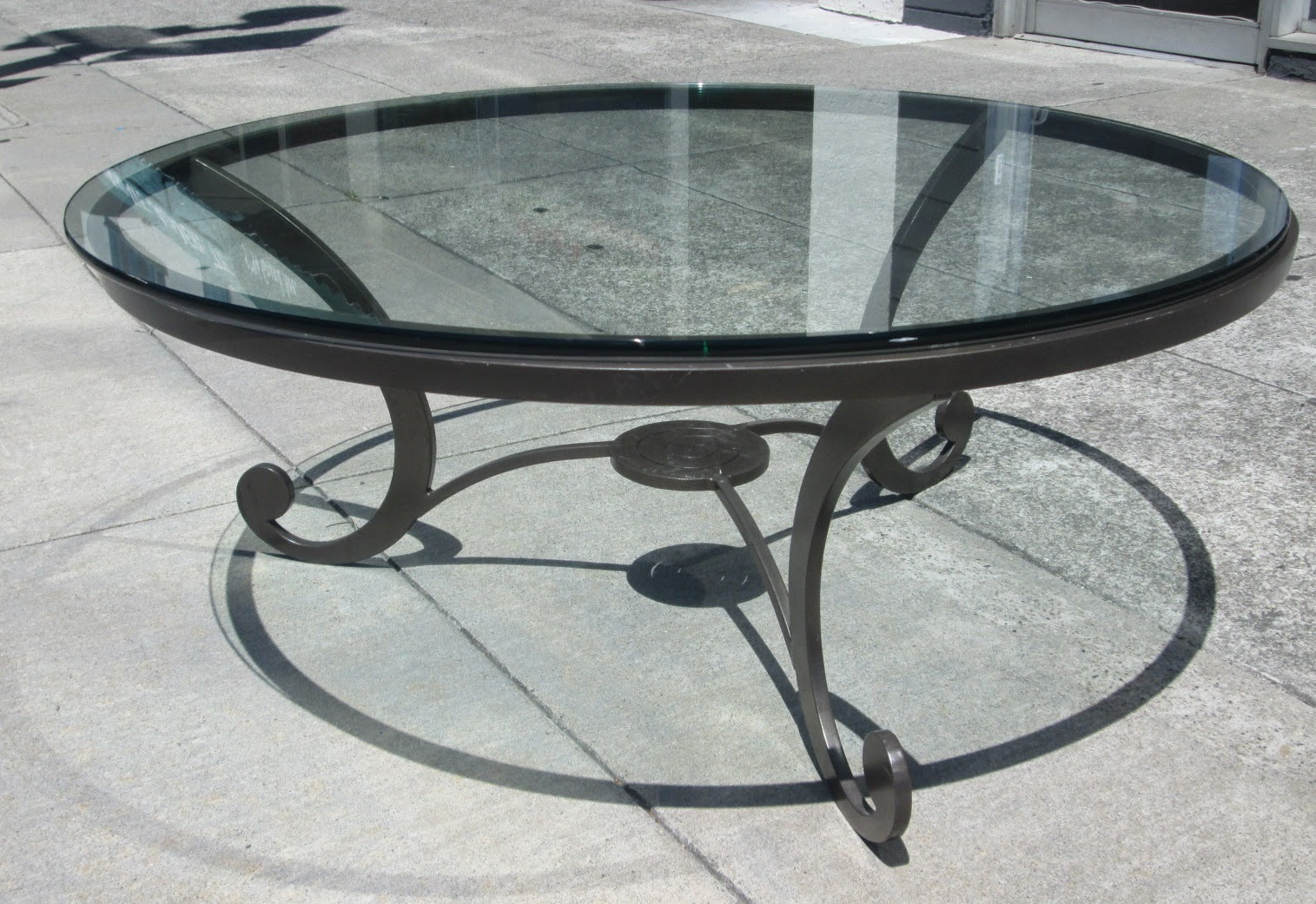 Uhuru Furniture Collectibles Sold Glass Top Wrought Iron Coffee Table 50