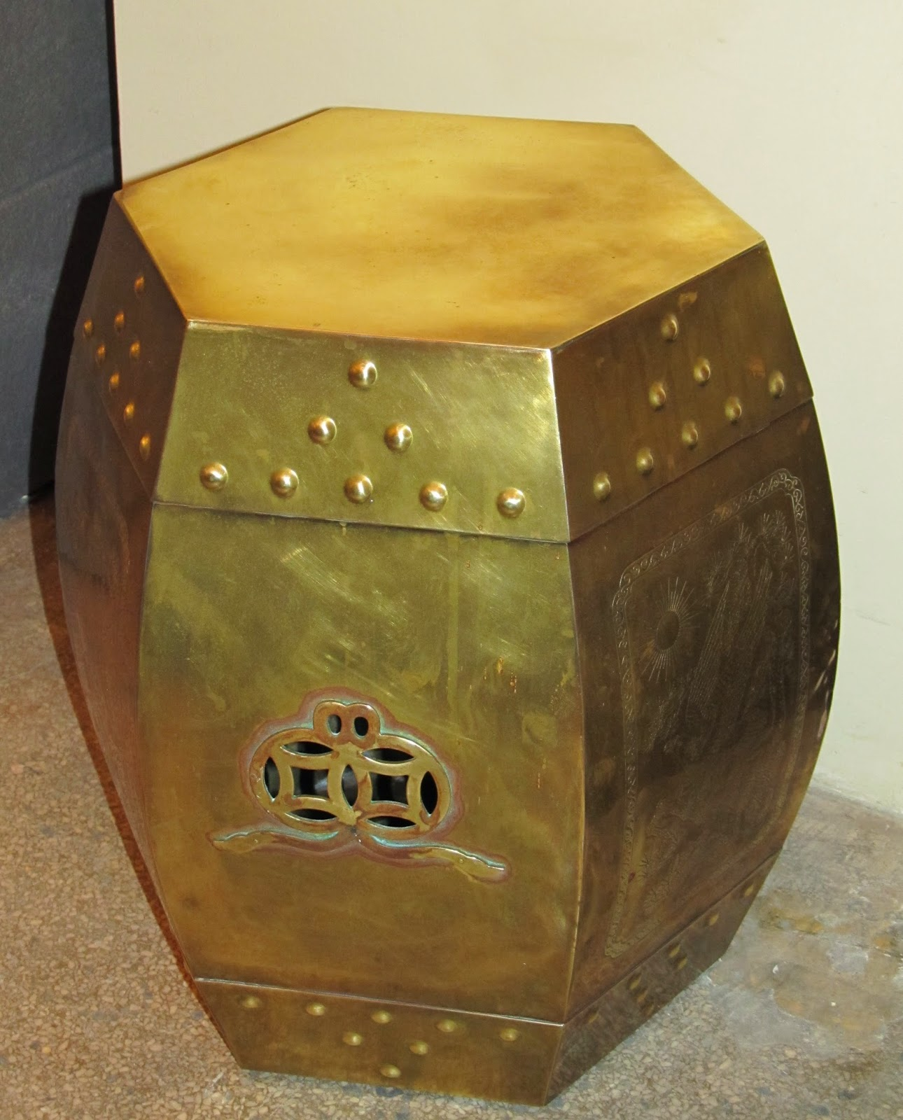 Vintage Brass Chinese Garden Stool for that  Hollywood Regency Look  & Era Antiques: Vintage Brass Chinese Garden Stool for that ... islam-shia.org