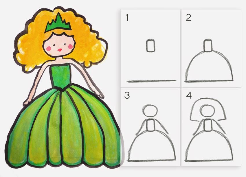 Apprendre dessiner une princesse en 4 tapes faciles - Dessin princesse facile ...