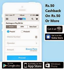 Paytm: Recharge & Bill Payment Rs. 50 cashback on Rs. 50