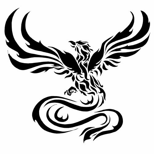 Phoenix long tail tattoo stencil
