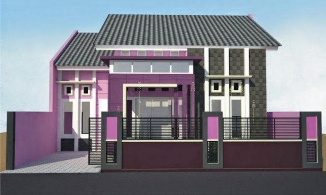 Cat Rumah Minimalis Warna Ungu , elegan, bagus