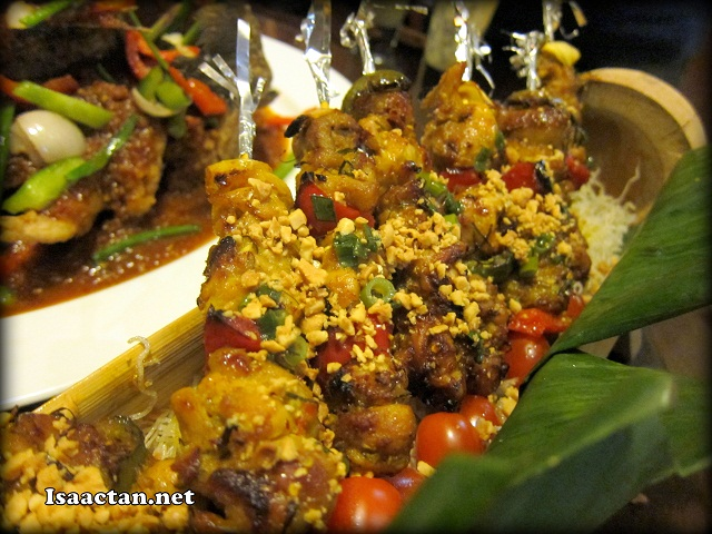 Grilled Skewed Chicken in Bamboo Tube