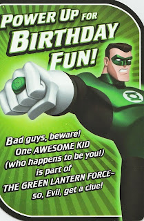 Front of Green Lantern doorknob hanger birthday card from Hallmark