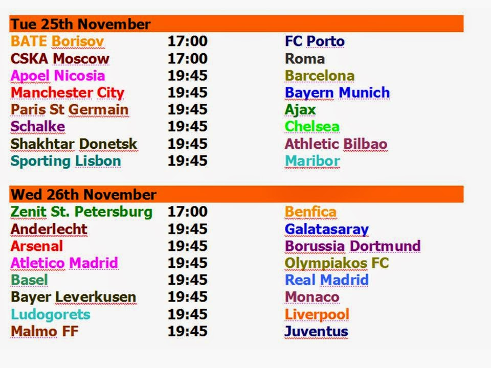 Football Champions League 2014 Schedule Best Time Table