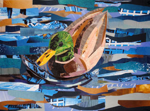 Mallard Duck by collage artist Megan Coyle