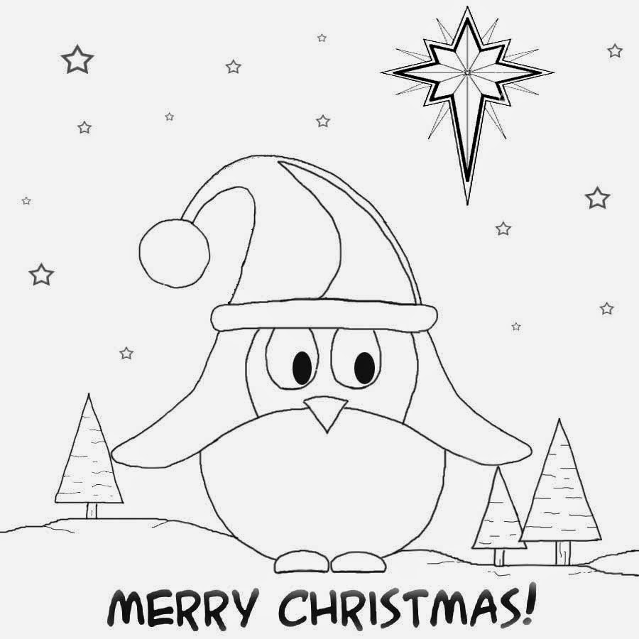 free fun cartoon winter bird easy drawing ideas for teenagers cute christmas card pictures to colour - Things To Color For Kids