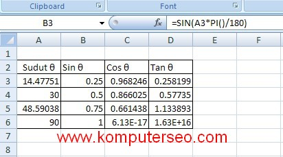 excel trigonometry