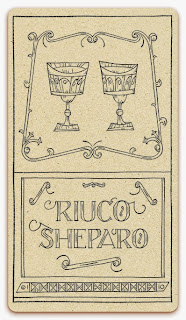 Two of Chalices card - inked illustration - In the spirit of the Marseille tarot - minor arcana - design and illustration by Cesare Asaro - Curio & Co. (Curio and Co. OG - www.curioandco.com)
