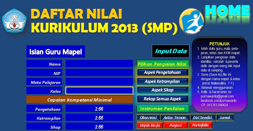 Aplikasi Penilaian dan Raport Kurikulum 2013 SMP Simpel, Cepat, Tepat