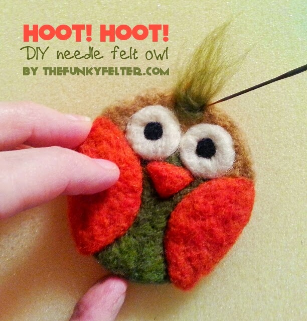 DIY needle felted fall owl craft tutorial with step by step photos