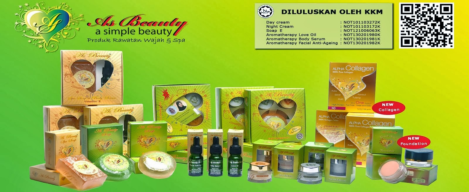 AS BEAUTY - Halal certified by JAKIM & approved by Ministry of Health