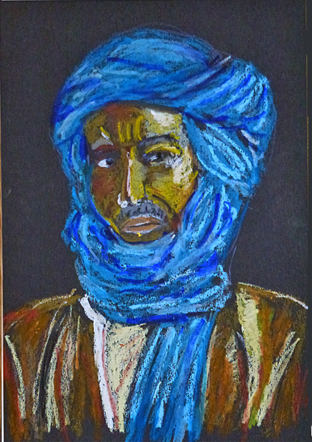 Art de vivre la peinture de peintrefiguratif portrait pastel gras le touareg atelier du for Peinture pastel gras
