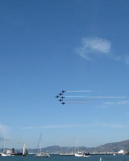Patriots Jet Team in formation over San Francisco Bay, California