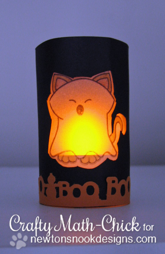 Halloween ghost kitty Luminary by Crafty Math-Chick for Newton's Nook Designs | Boo Crew Stamp set