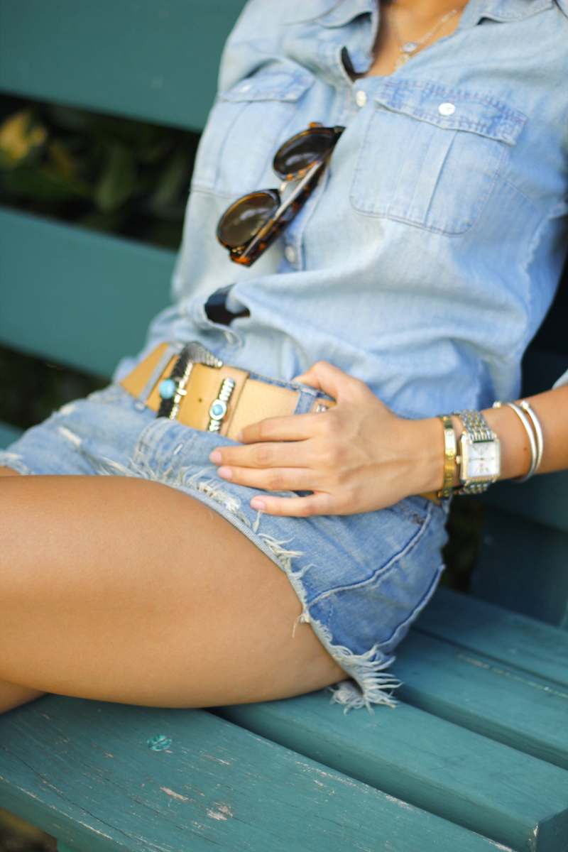 denim shorts and denim shirt