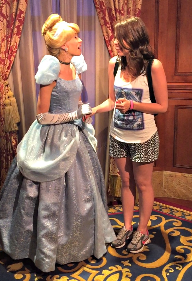 Disney World Recap - Magic Kingdom - Cinderella was so sweet, we chatted about Gus and cheese.