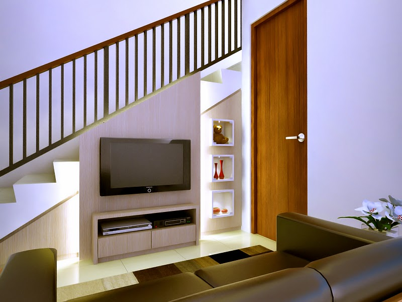 Desain tv panel sekaligus lemari bawah tangga di ismaya