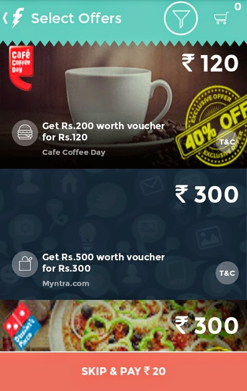 Recharge at Freechage app and get 40% off Coupon of CCD, Myntra, Dominos & Enrich