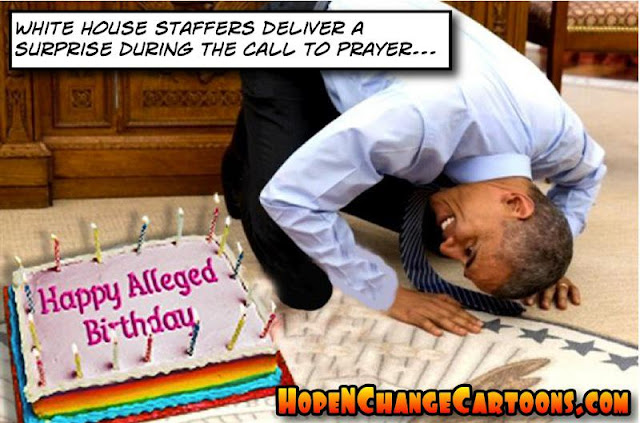obama, obama jokes, political, humor, cartoon, conservative, hope n' change, hope and change, stilton jarlsberg, birthday, islam, cake