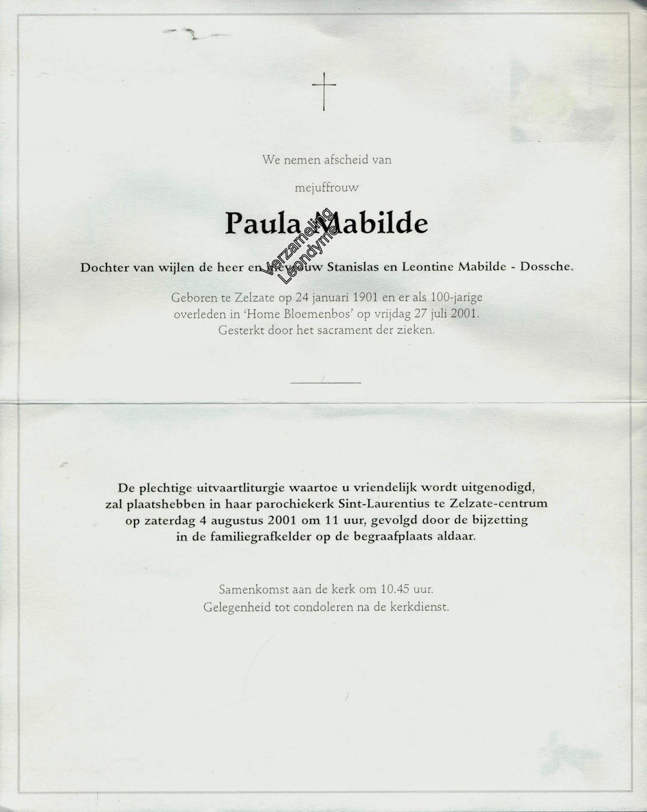 Rouwbrief Paula Mabilde 1901-2001. Verzameling Leondyme.