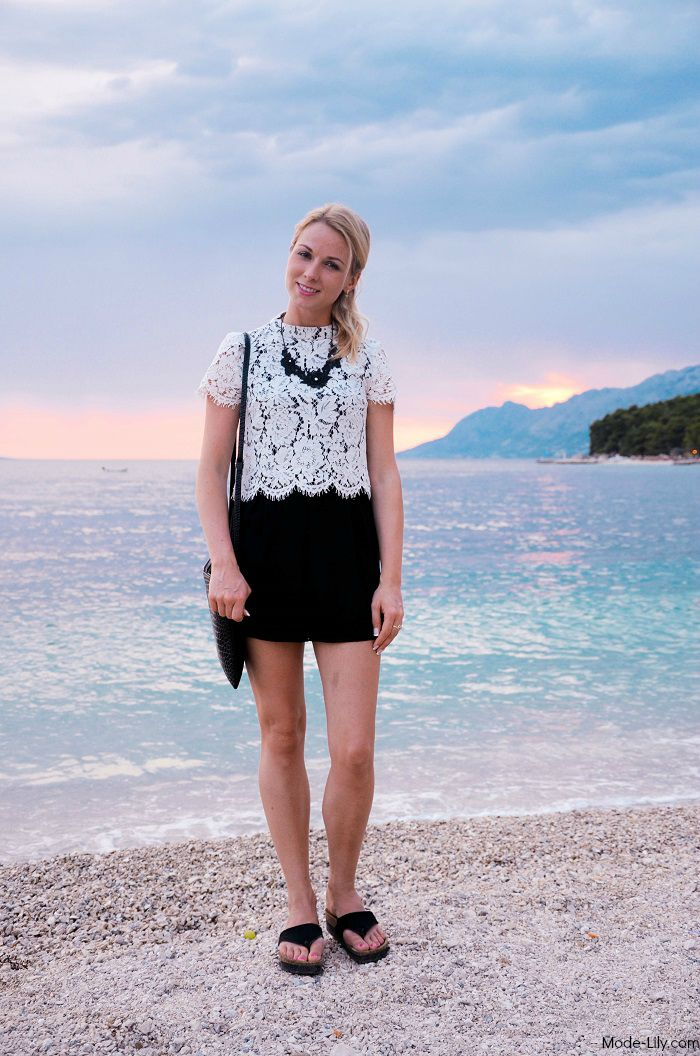Holiday Outfit: Warehouse Black and White Lace Playsuit
