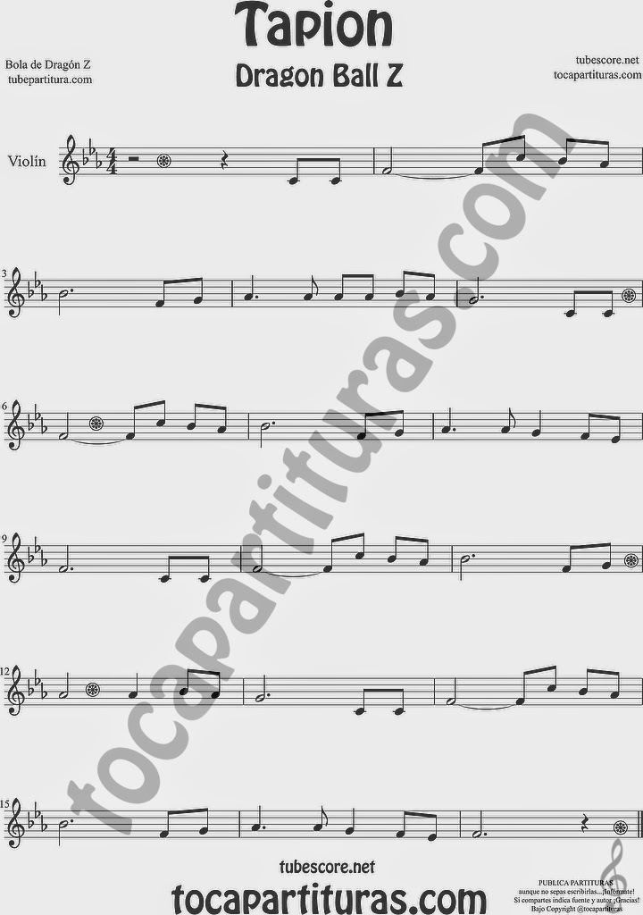 Tapión Bola de Dragón Z Partitura de Violín Sheet Music for Violin Music Scores Music Scores Dragon Ball Z Tapion