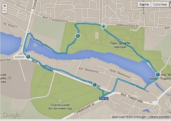 Дистанция на карте тренировки по Охоте на Лис (радиопеленгация), спортивное ориентирование в Виннице.