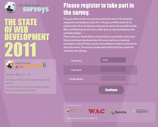 Screen capture of Webdirections survey site in Chrome
